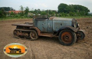 Restored Antique Car With Half Track