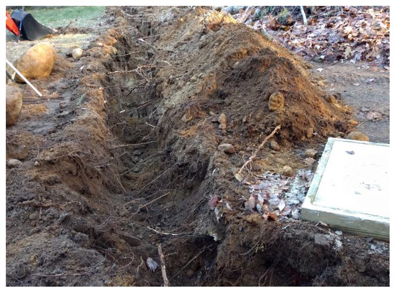 track loader digging a ditch